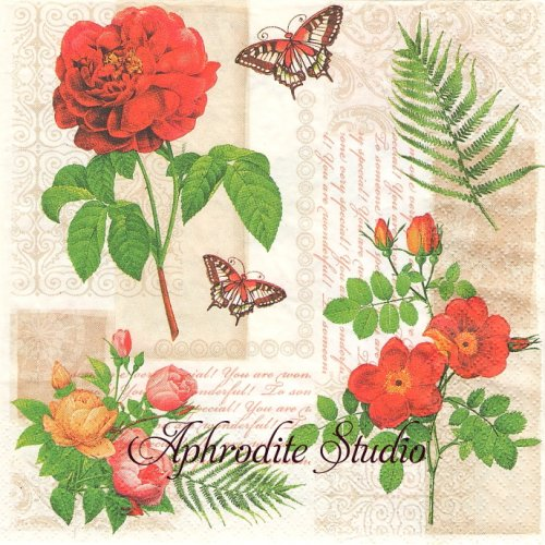 Flowers and Butterflies on Vintage Background 薔薇 ヴィクトリアン 1枚 バラ売り 33cm ペーパーナプキン Maki