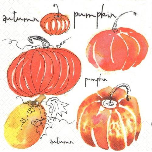 1パック20枚 Watercolour Pumpkins 水彩のカボチャ パンプキン ハロウィン 33cm ペーパーナプキン Daisy