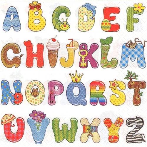 1パック20枚 Colourful Alphabet アニメアルファベット 33cm ペーパーナプキン Daisy