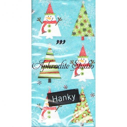 1パック10枚入 コミック雪だるま クリスマス 21.5cm角 ポケットペーパーハンカチ 紙ハンカチ Paper+Design