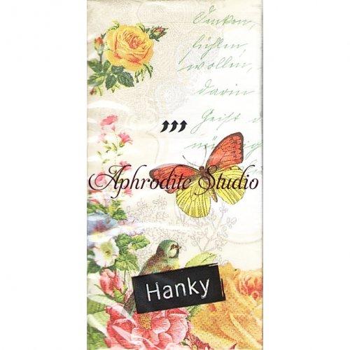 1パック10枚入 薔薇と蝶 ヴィクトリアン 21.5cm角 ポケットペーパーハンカチ 紙ハンカチ Paper+Design
