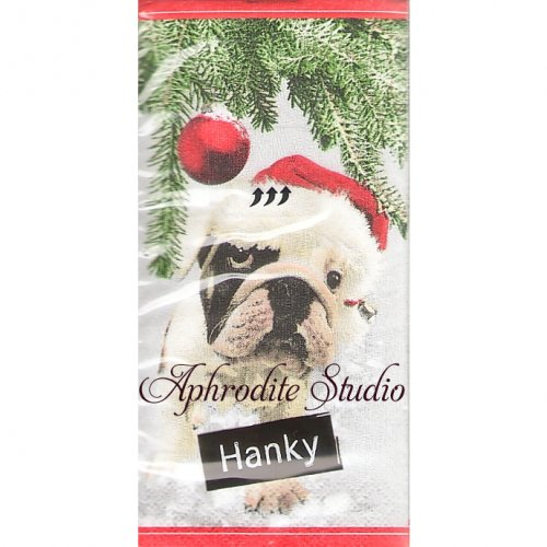1パック10枚入 サンタ犬 クリスマス 21.5cm角 ポケットペーパーハンカチ 紙ハンカチ Paper+Design