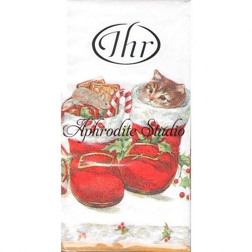 1パック10枚入 21cm角 SWEET CHRISTMAS BOOTS ブーツ子猫 ポケットペーパーハンカチ 紙ハンカチ Ihr