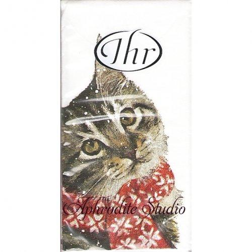 1パック10枚入 21cm角 KITTY 赤いマフラーの猫 クリスマス ポケットペーパーハンカチ 紙ハンカチ Ihr