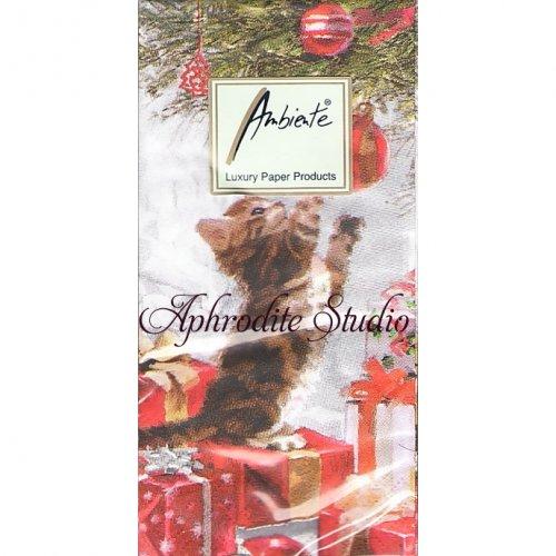 1パック10枚入 Kitten And Bouble いたずら子猫 クリスマス 21.5cm角 ポケットペーパーハンカチ 紙ハンカチ Ambiente