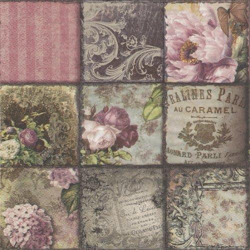 1パック20枚 廃盤人気柄 Vintage Collage Paris パリのヴィンテージコラージュ 33cm ペーパーナプキン ti-flair