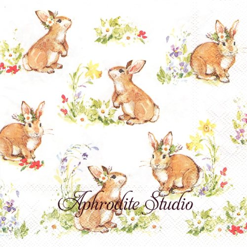<img class='new_mark_img1' src='https://img.shop-pro.jp/img/new/icons59.gif' style='border:none;display:inline;margin:0px;padding:0px;width:auto;' />SWEET LOVELY BUNNIES ホワイト 可愛い兎 ラビット イースター 1枚 バラ売り 33cm ペーパーナプキン Ihr
