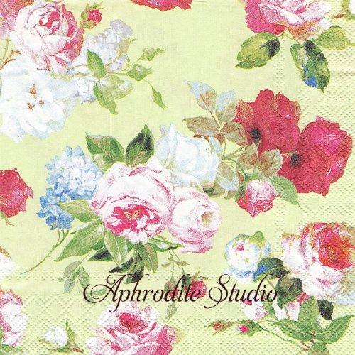 SCARLETT ライトグリーン 薔薇 1枚 バラ売り 33cm ペーパーナプキン Ihr