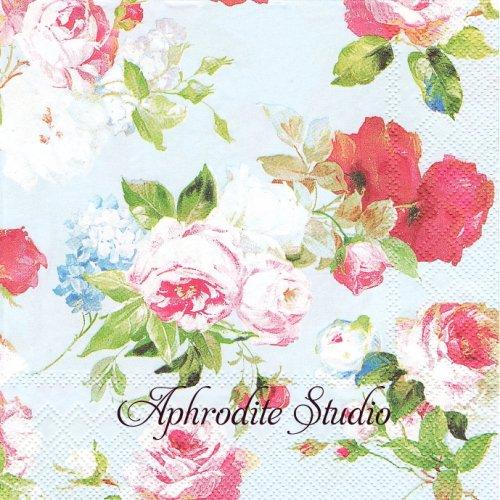 SCARLETT ライトブルー 薔薇1枚 バラ売り 33cm ペーパーナプキン Ihr