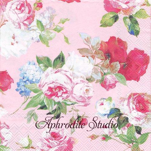 SCARLETT ピンク 薔薇1枚 バラ売り 33cm ペーパーナプキン Ihr