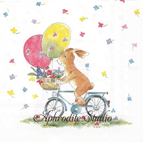 EASTER RIDE 自転車うさぎ 兎 1枚 バラ売り 33cm ペーパーナプキン Ihr