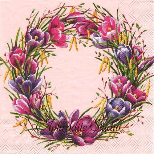 SPRING CIRCLE ピンク クロッカスのリース 1枚 バラ売り 33cm ペーパーナプキン Ihr