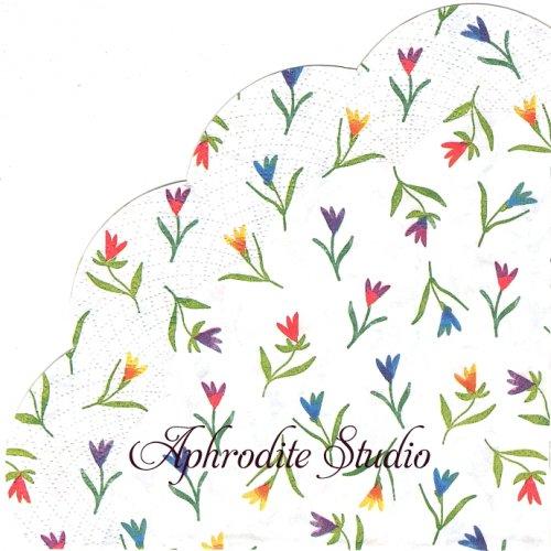 34cm COLOURFUL FLOWERS 1枚 バラ売り サークル スカラップ型ペーパーナプキン Ihr