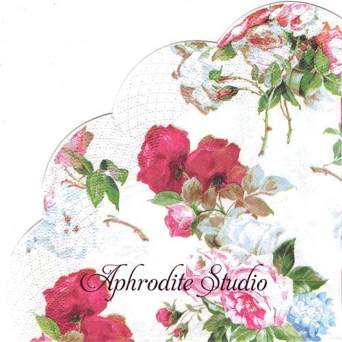 34cm SCARLETT white 1枚 バラ売り サークル スカラップ型ペーパーナプキン Ihr