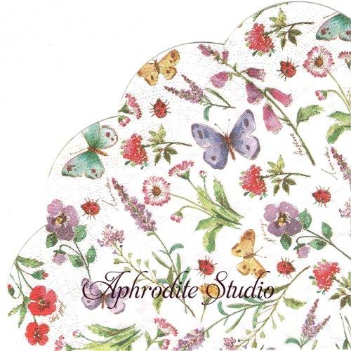 34cm SUMMER FLOWERS white 1枚 バラ売り サークル スカラップ型ペーパーナプキン Ihr