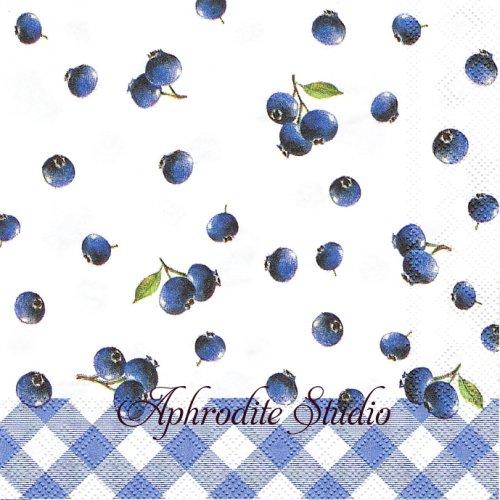 25cm BLUEBERRY ブルーベリー 1枚 バラ売り ペーパーナプキン Ihr