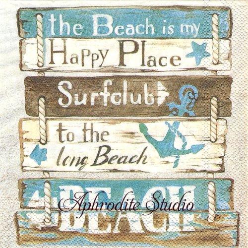 25cm HAPPY PLACE AT THE BEACH ビーチサイン 1枚 バラ売り ペーパーナプキン Ihr