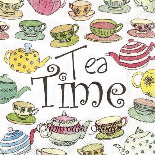 25cm ENGLISCH AFTERNOON TEA white ティーカップ 1枚 バラ売り ペーパーナプキン Ihr