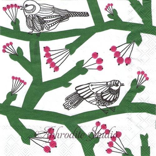 25cm 1パック20枚  北欧 マリメッコ PAKKANEN パッカネン グリーン 小鳥 ペーパーナプキン marimekko