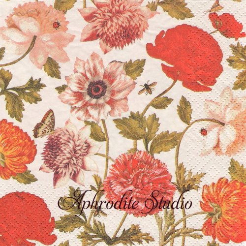 Flora Botanica creme 赤い花1枚 バラ売り 33cm ペーパーナプキン Atelier