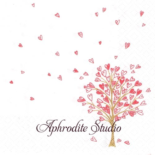Love Tree rot ハートの木1枚 バラ売り 33cm ペーパーナプキン Atelier
