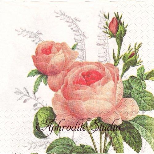 <img class='new_mark_img1' src='https://img.shop-pro.jp/img/new/icons55.gif' style='border:none;display:inline;margin:0px;padding:0px;width:auto;' />Wonderful Rose ピンクの薔薇 1枚 バラ売り 33cm ペーパーナプキン Atelier