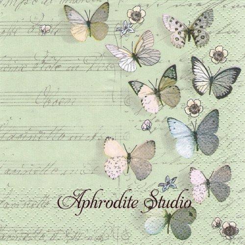 Petits Papillons 紙の蝶1枚 バラ売り 33cm ペーパーナプキン Atelier