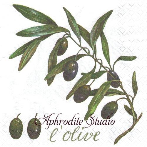 L'Olive オリーブの枝1枚 バラ売り 33cm ペーパーナプキン Atelier