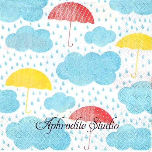 Keep Smiling 雨と傘 1枚 バラ売り 33cm ペーパーナプキン HOME FASHION