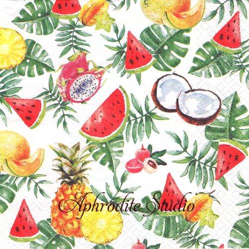 Exotic Fruits 南国フルーツ 1枚 バラ売り 33cm ペーパーナプキン HOME FASHION