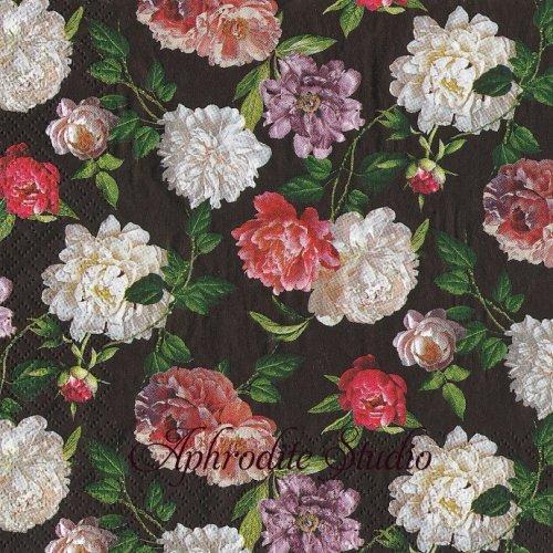 Night Garden ブラック 薔薇1枚 バラ売り 33cm ペーパーナプキン HOME FASHION