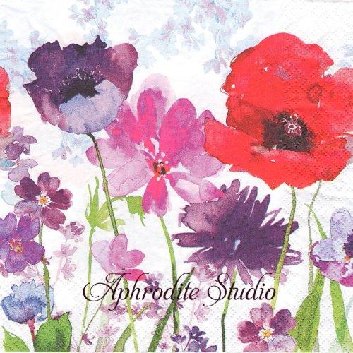 Meadow of Flowers 水彩の花 1枚 バラ売り 33cm ペーパーナプキン HOME FASHION