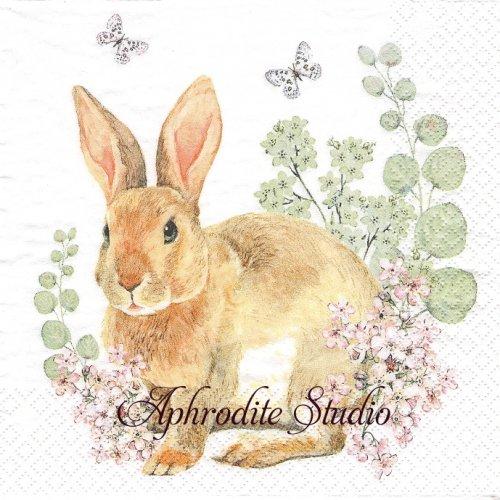 Rosi Rabbit1枚 バラ売り 33cm ペーパーナプキン HOME FASHION