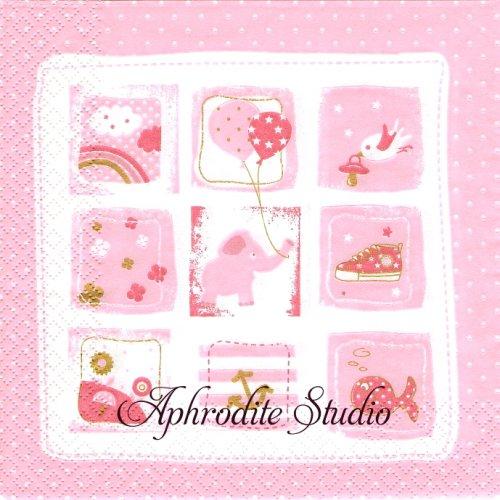 Little One ピンク 赤ちゃん ベビー 1枚 バラ売り 33cm ペーパーナプキン HOME FASHION