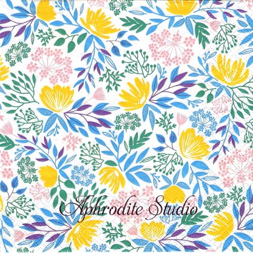 Floral Pattern ブルーイエロー 花 1枚 バラ売り 33cm ペーパーナプキン HOME FASHION