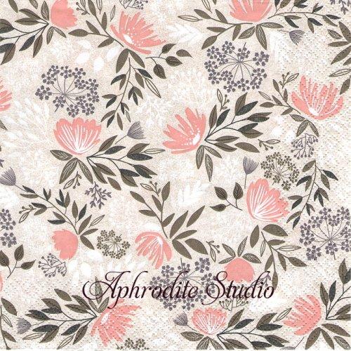 Floral Pattern Bohemian ピンクベージュ 花 1枚 バラ売り 33cm ペーパーナプキン HOME FASHION