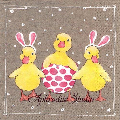 Funny Ducklings かわいいアヒル 1枚 バラ売り 33cm ペーパーナプキン HOME FASHION