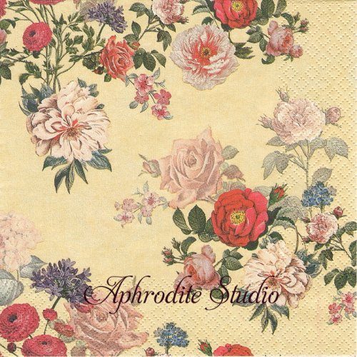 Elisabeth creme 薔薇1枚 バラ売り 33cm ペーパーナプキン HOME FASHION