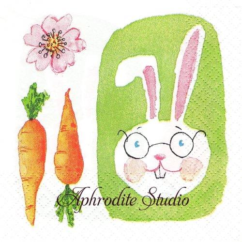 25cm Green Bunny 1枚 バラ売り ペーパーナプキン Atelier