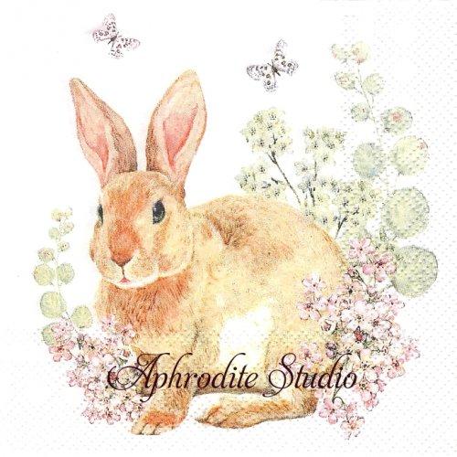 25cm Rosi Rabbit 兎 うさぎ イースター 1枚 バラ売り ペーパーナプキン HOME FASHION