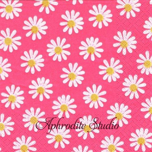 Dancing Daisies pink ピンク デイジー1枚 バラ売り 33cm ペーパーナプキン Atelier