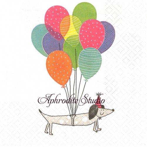 Flying Waldi 風船と犬1枚 バラ売り 33cm ペーパーナプキン Atelier