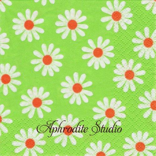 25cm Dancing Daisies grun 1枚 バラ売り ペーパーナプキン Atelier
