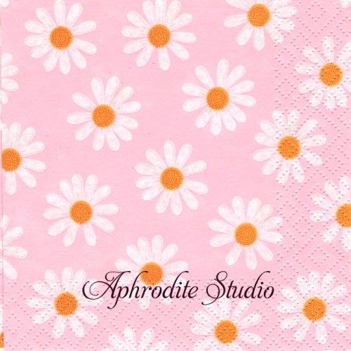 25cm Dancing Daisies rosa 1枚 バラ売り ペーパーナプキン Atelier