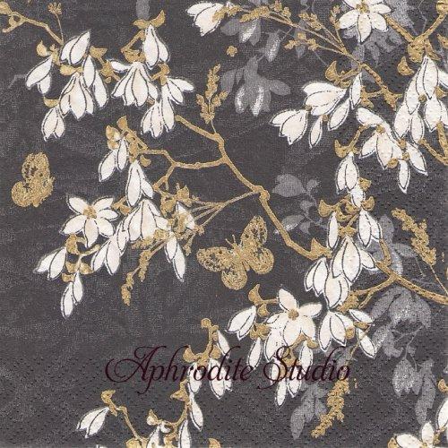Jardin des Reves, graphit1枚 バラ売り 33cm ペーパーナプキン Salon Boudoir