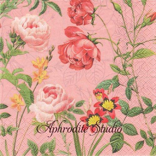 Mademoiselle, rose 1枚 バラ売り 33cm ペーパーナプキン Salon Boudoir