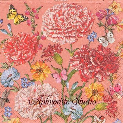 Dalida, coral 1枚 バラ売り 33cm ペーパーナプキン Salon Boudoir