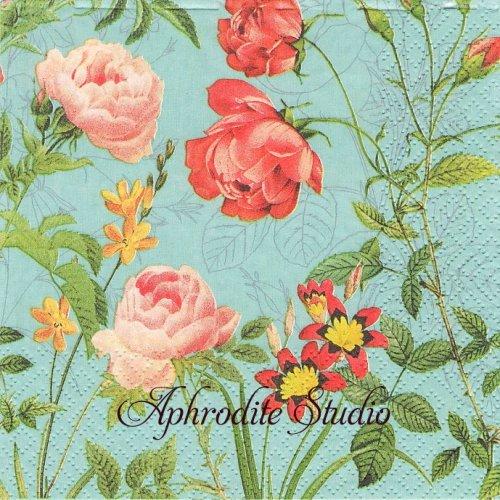 Mademoiselle, turquoise 1枚 バラ売り 33cm ペーパーナプキン Salon Boudoir