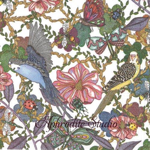 Birds and Flowers 動物や鳥の楽園 1枚 バラ売り 33cm ペーパーナプキン ppd