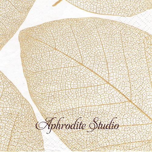 25cm Apart, weib-gold 1枚 バラ売り ペーパーナプキン Salon Moderne